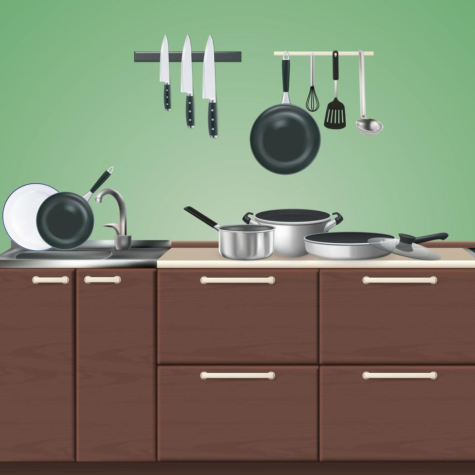 Kitchen Furniture Culinary Utensils Illustration Vector Illustration