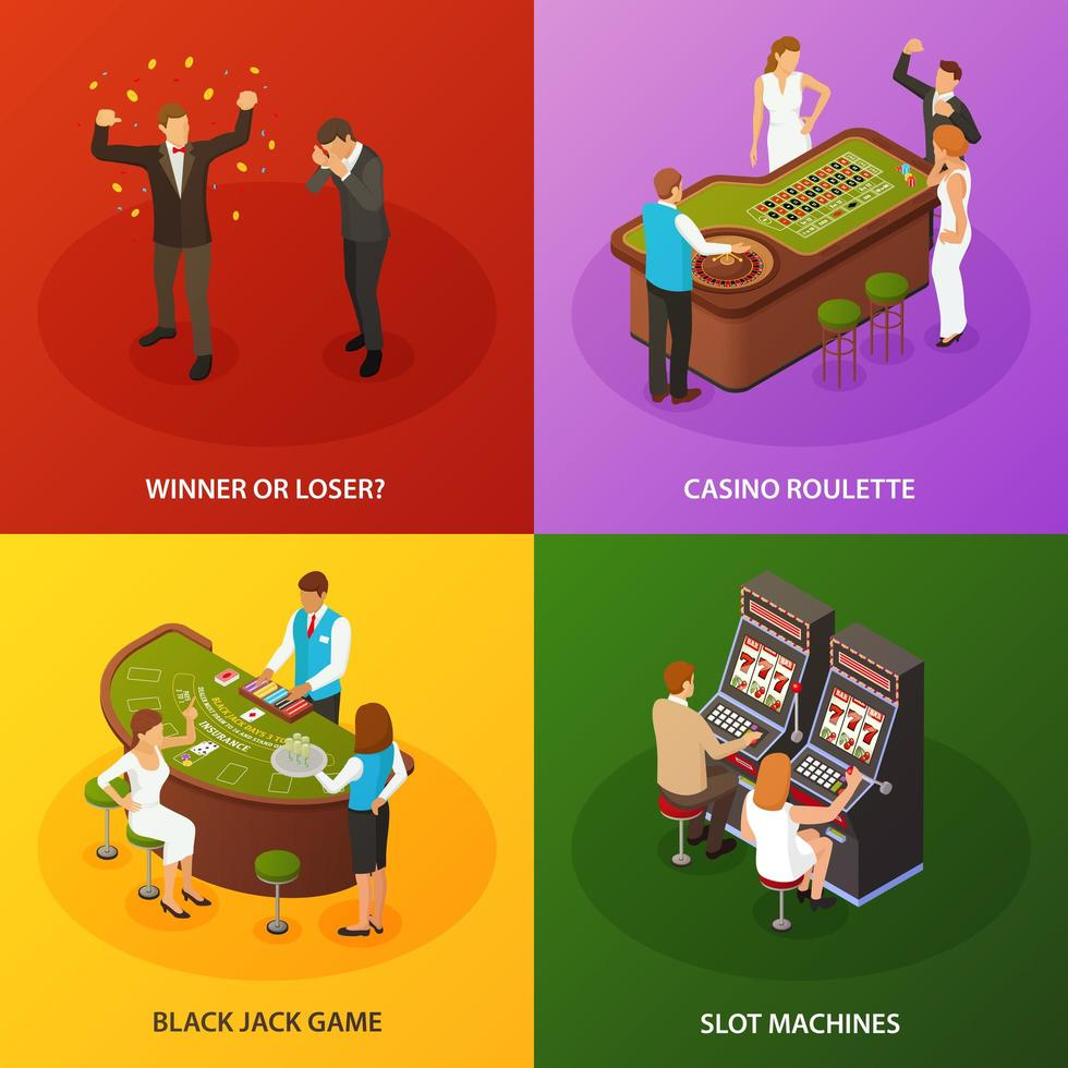 Casino Isometric Concept Design Vector Illustration