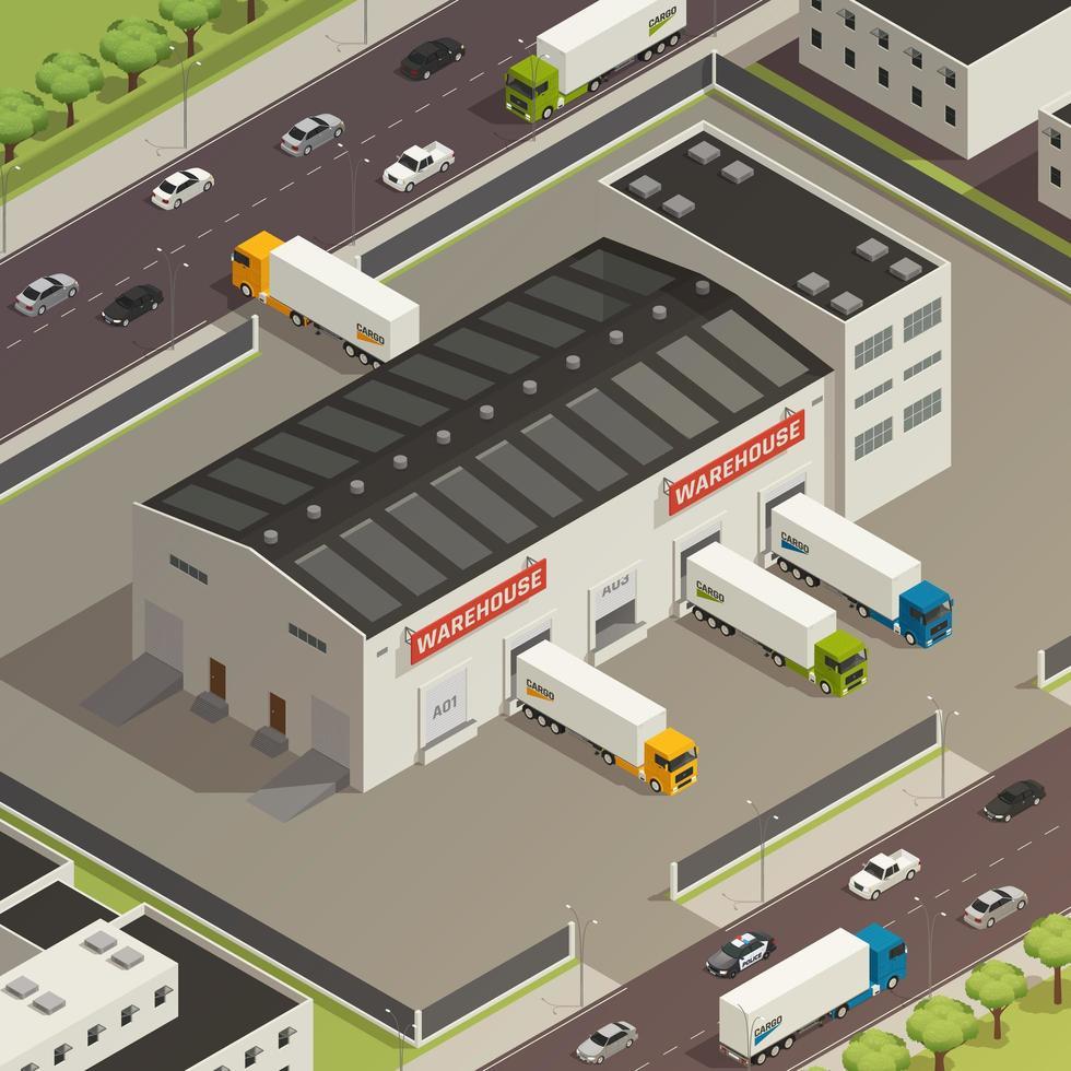Logistic Trucking Isometric Illustration Vector Illustration