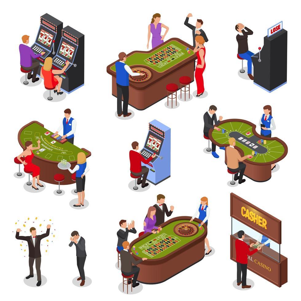 Isometric Casino Set Vector Illustration