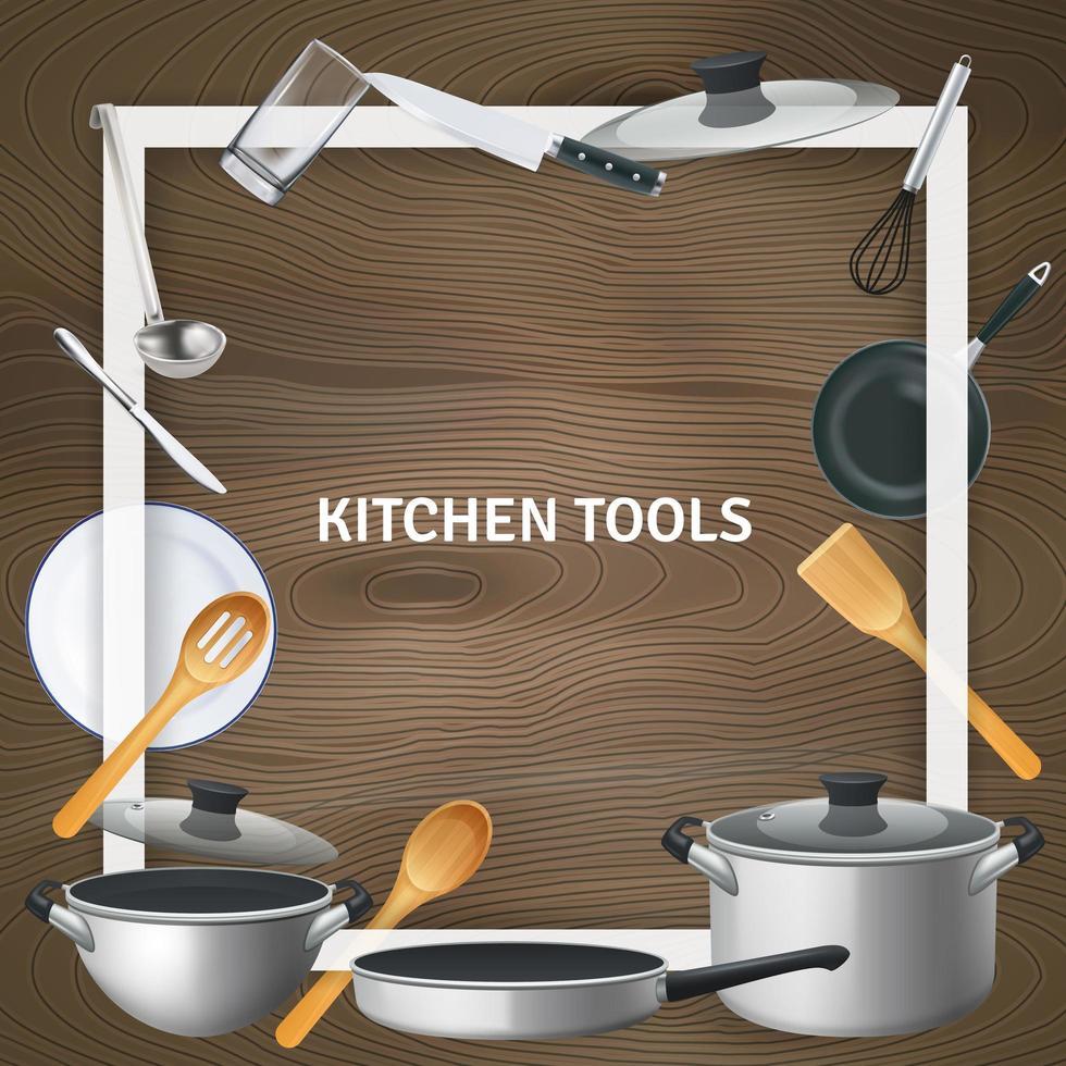 Realistic Kitchen Tools Frame Background Vector Illustration