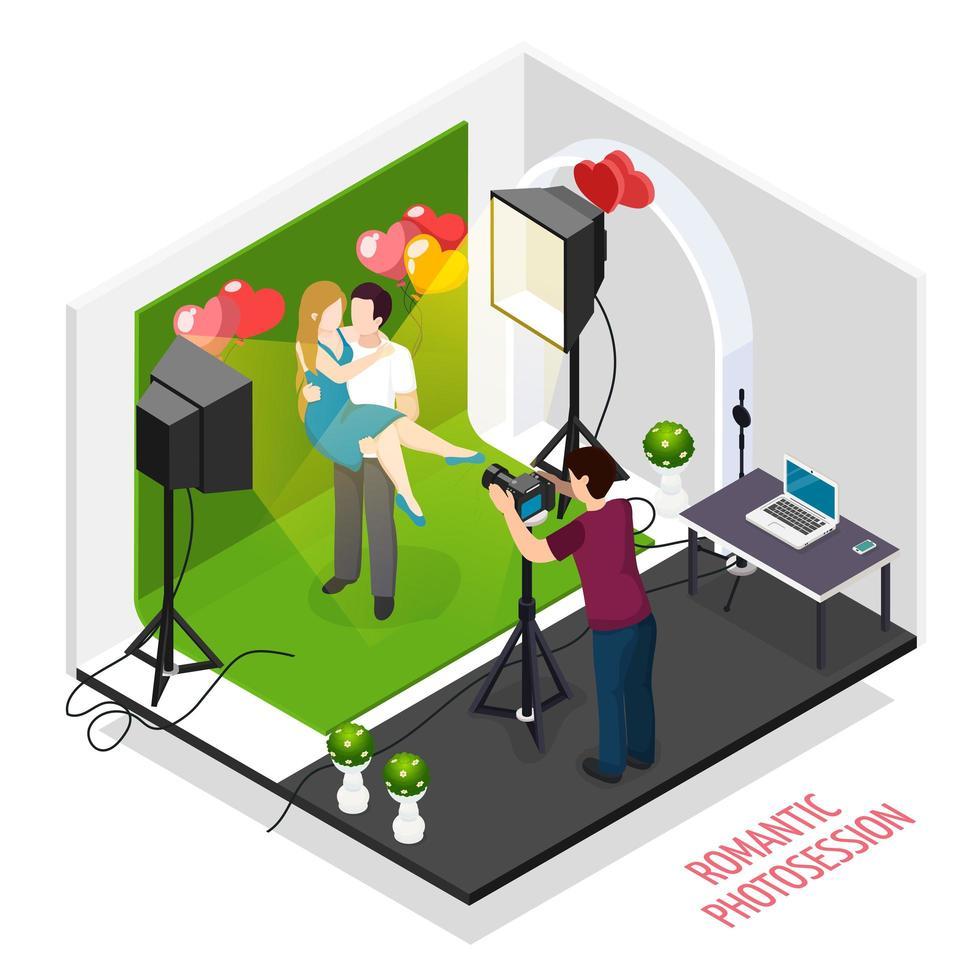Romantic Photo Session Isometric Vector Illustration