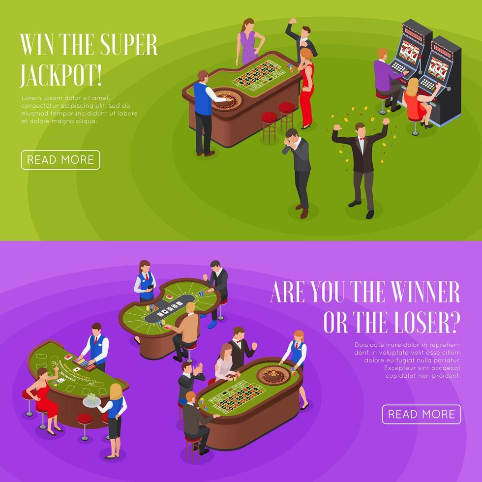 Casino Isometric Banners Vector Illustration