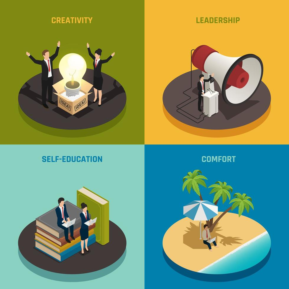 Entrepreneur Isometric Design Concept Vector Illustration