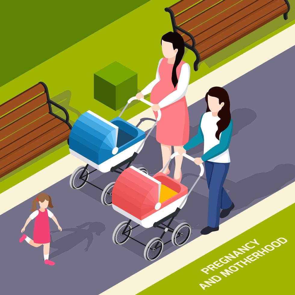 Pregnancy And Motherhood Isometric Composition Vector Illustration