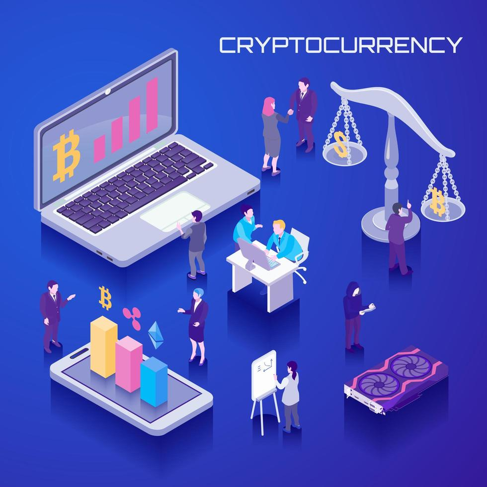 Virtual Currency Isometric Background Vector Illustration