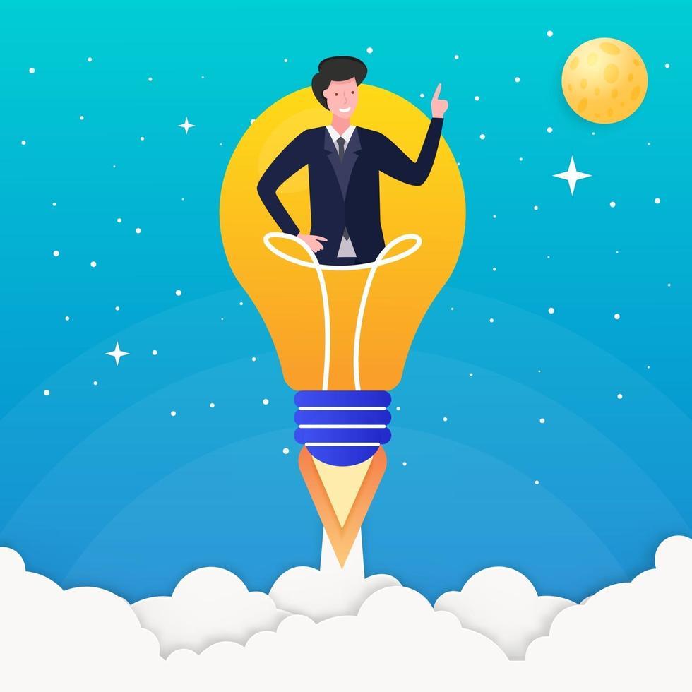 Illustration concept light bulb rocket launch vector