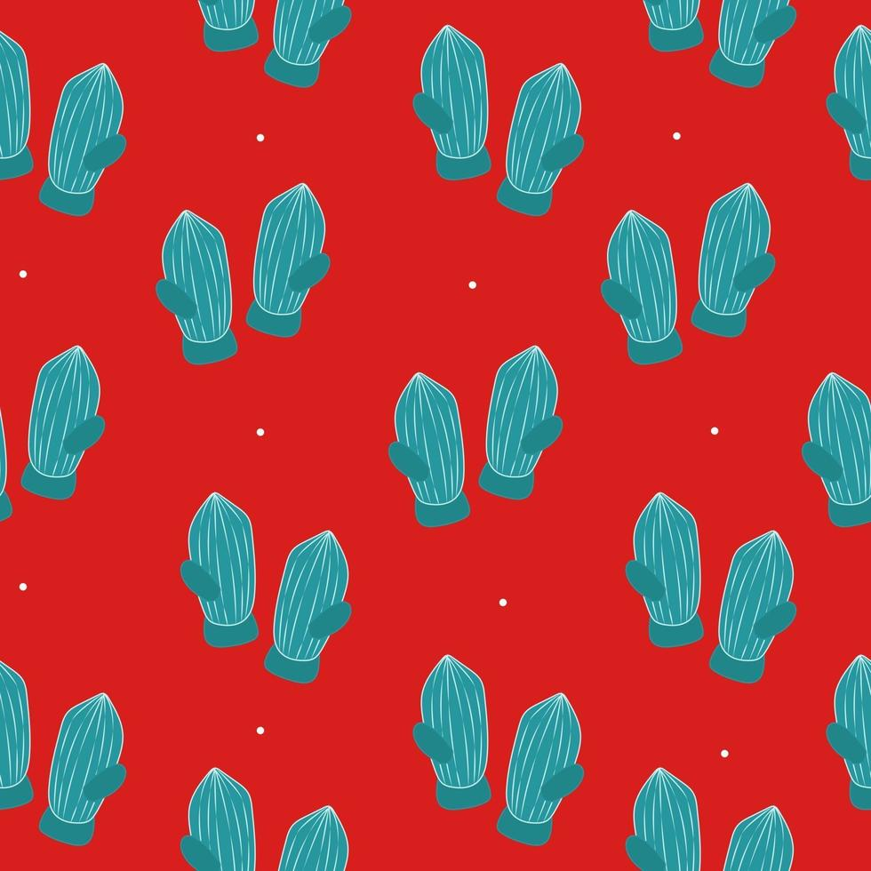 Pattern with christmas green mittens and red background vector