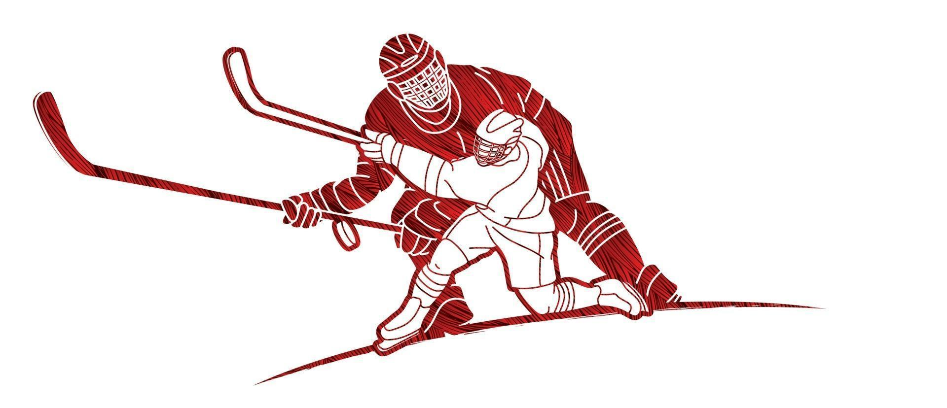 Silhouette Ice Hockey Players vector