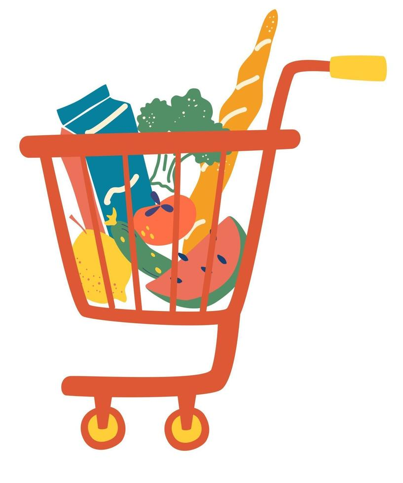 Shopping trolley full food meal. Complete shopping cart. Grocery store, supermarket. Department store goods. vector