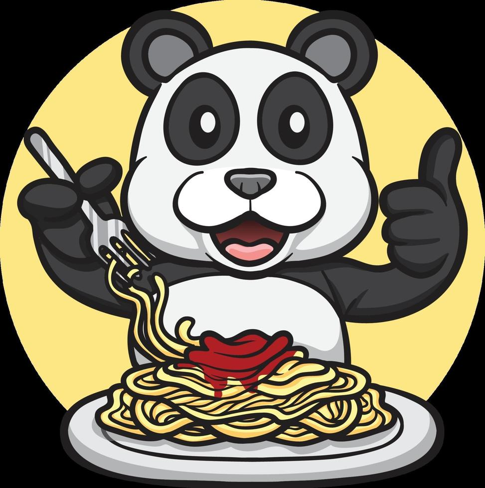 cute panda eating spaghetti illustration vector