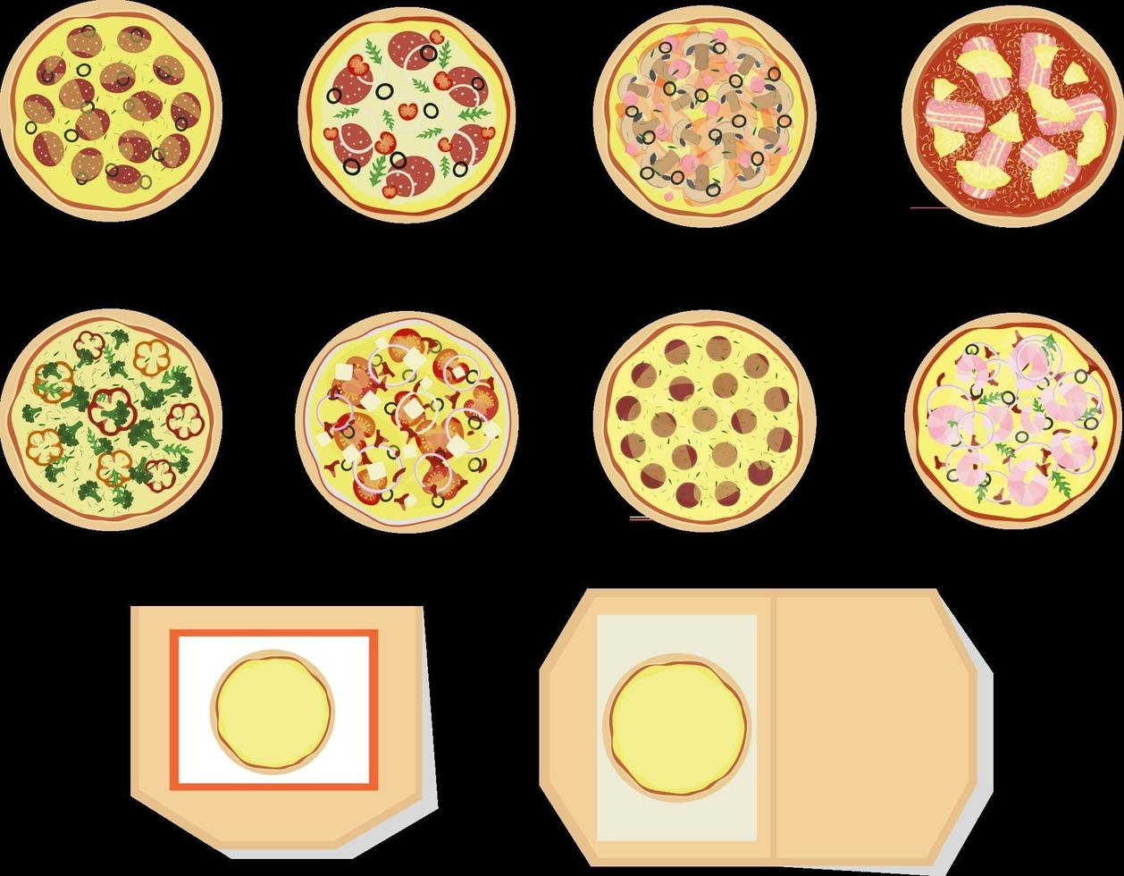 Pizza set of different types Top view Open and closed pizza box Vector illustration