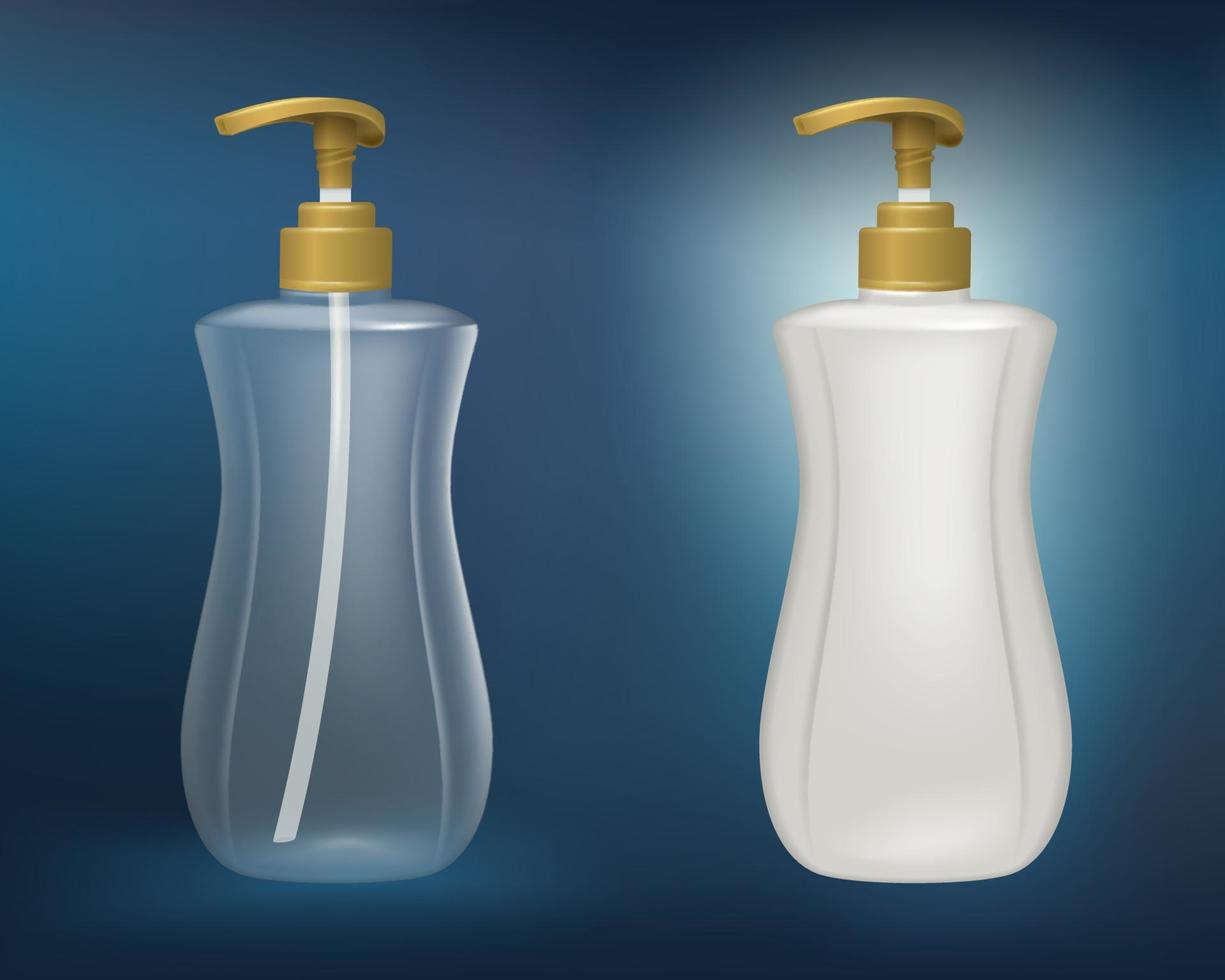 White plastic and clear plastic bottles vector
