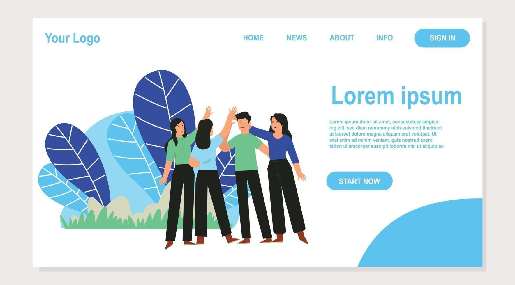 landing page a group of young people smiling while raising their hands vector