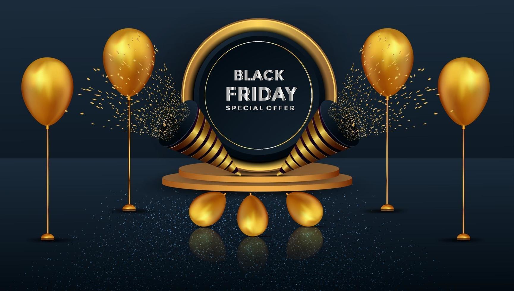 Oferta especial de viernes negro, podio dorado realista y diseño de globos. vector