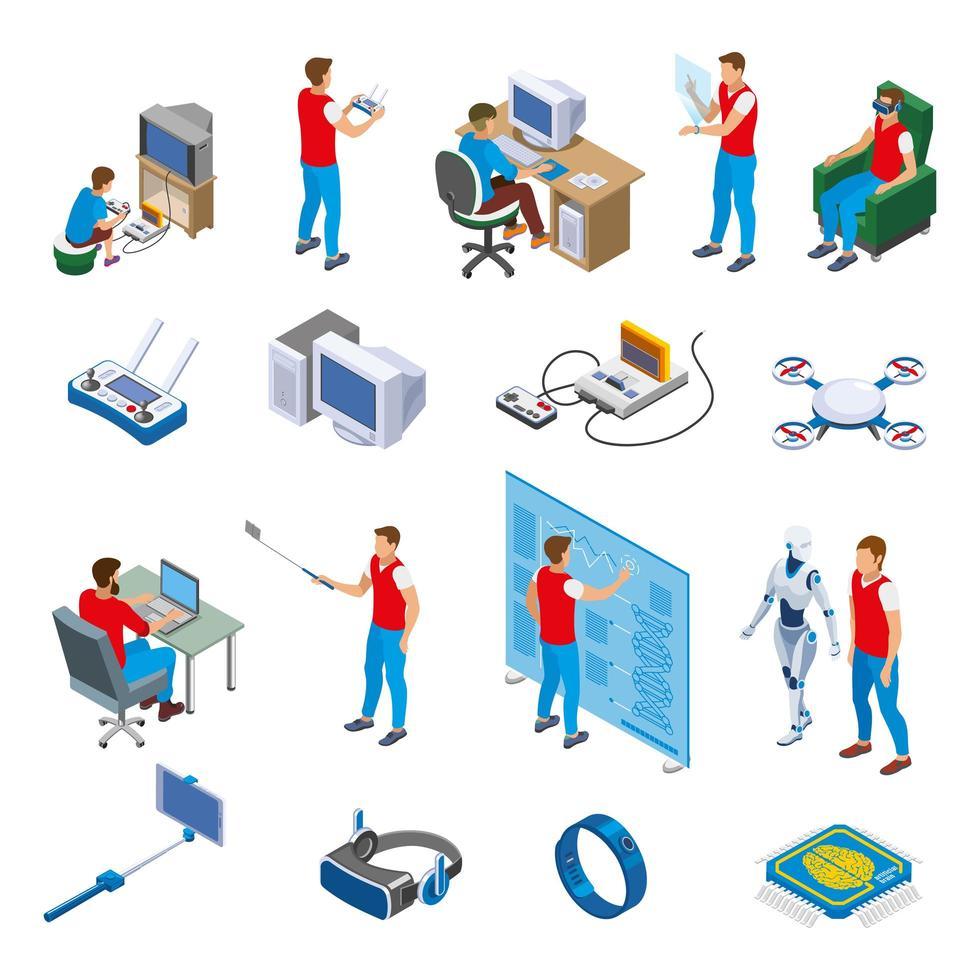 Digital Gadget Evolution Isometric Icons Vector Illustration