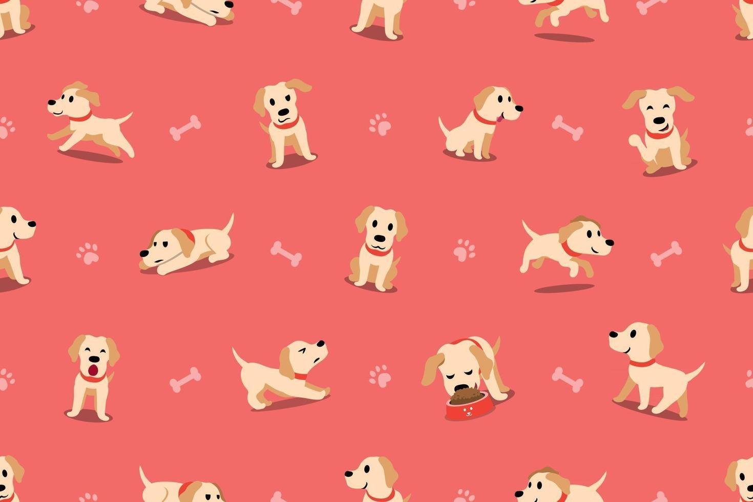 Vector cartoon character labrador dog seamless pattern