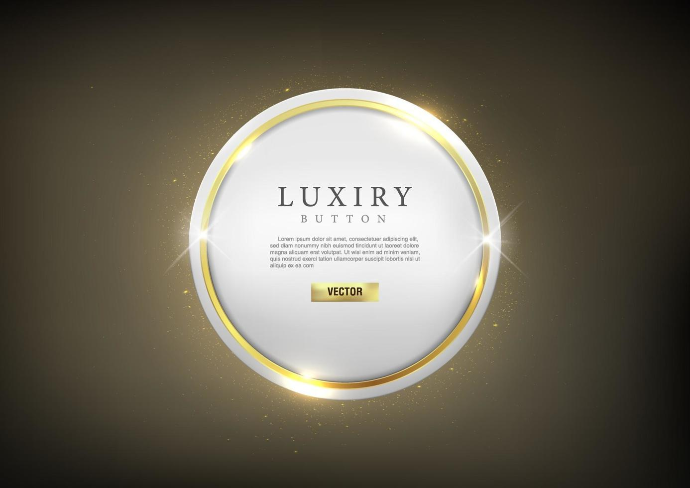 Glossy luxury Gold outline circle web Button vector
