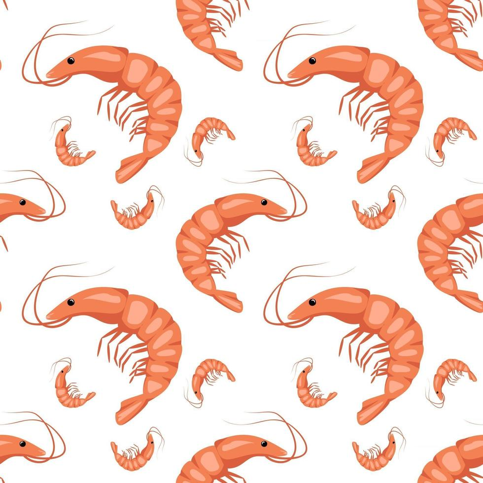 Seamless pattern with shrimps or prawns on a white background. Cute print for textiles, paper and other designs. A source of vitamins and healthy nutrition. Vector flat illustration
