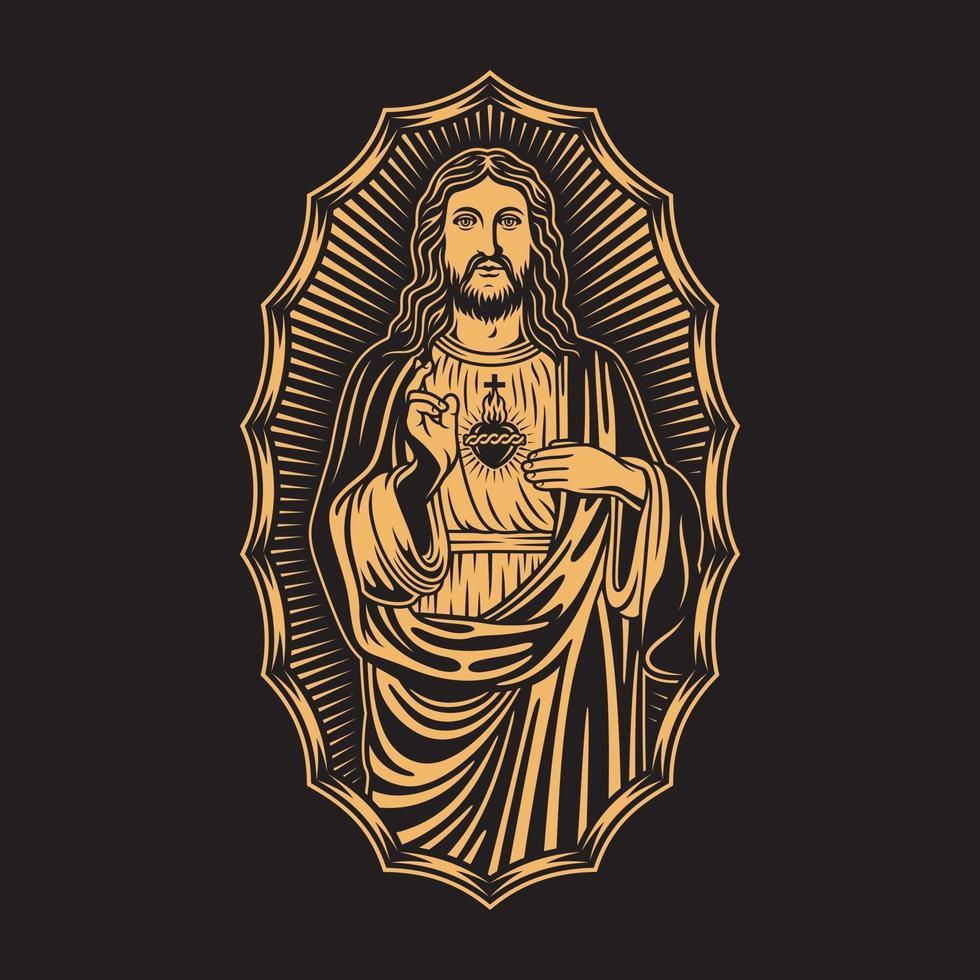 Jesus Christ Vector Graphic on Black