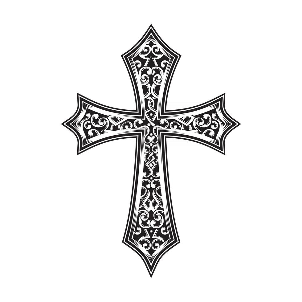 Ornamental Christian Cross In Black And White vector