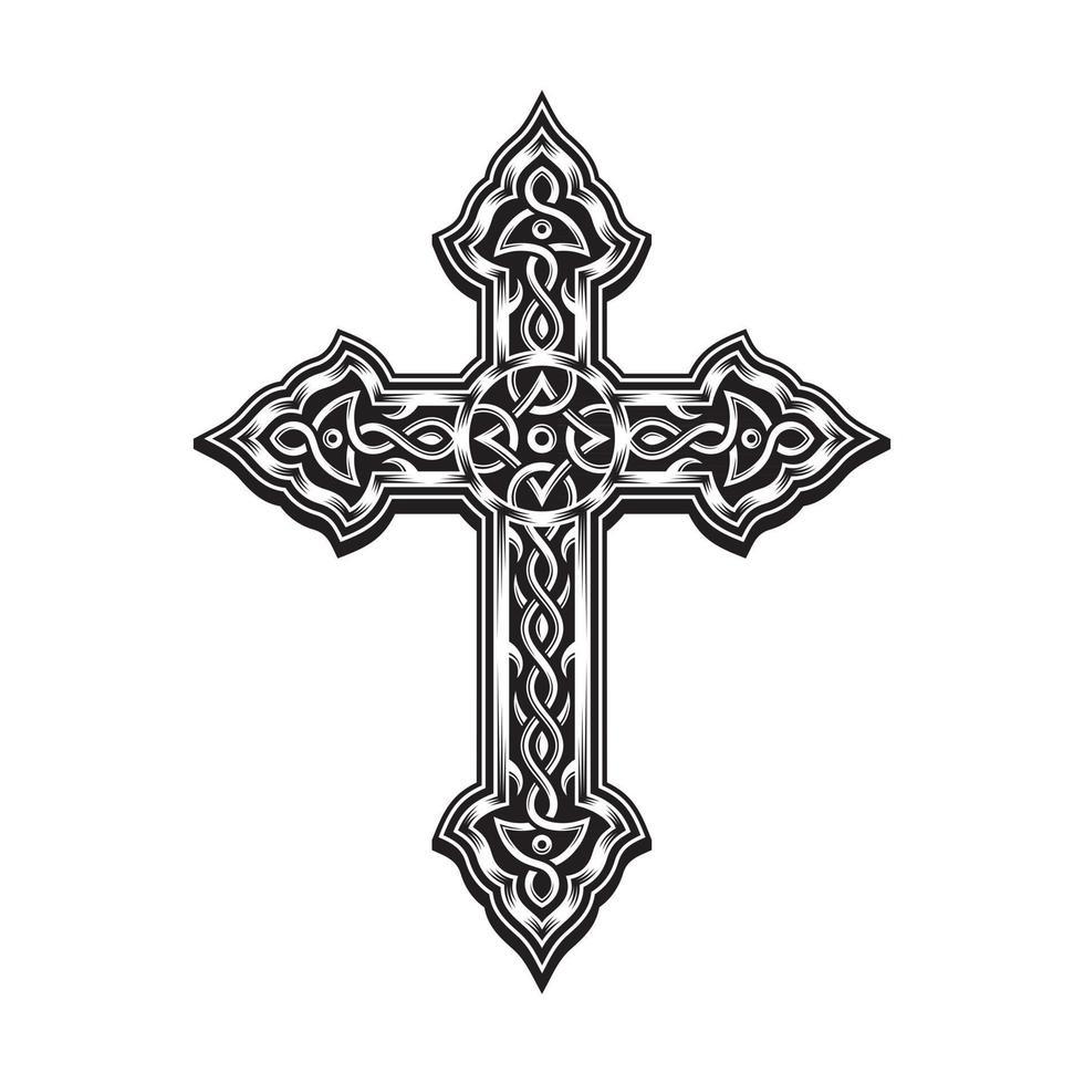 Ornamental Cross In Black And White vector