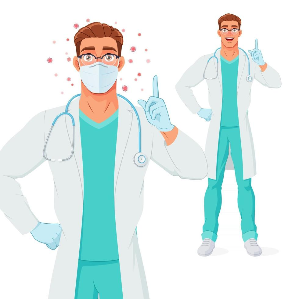 Doctor in mask gloves pointing finger up to give advice vector illustration