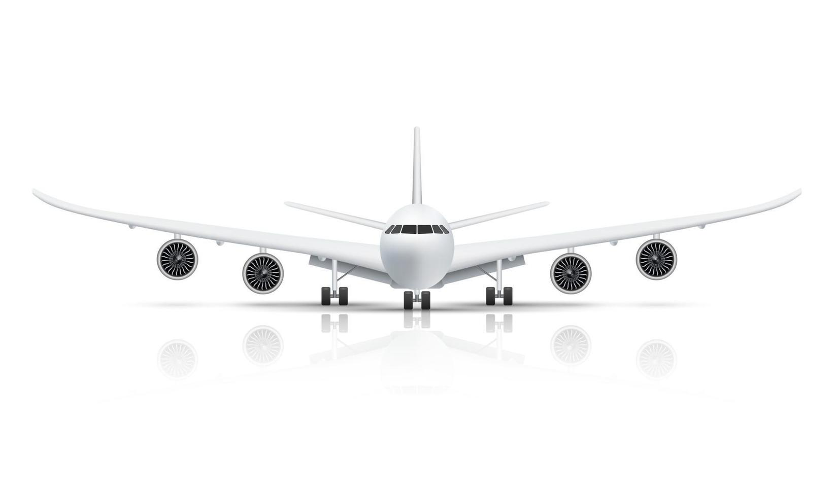 Front view of airplane isolated on white background vector illustration