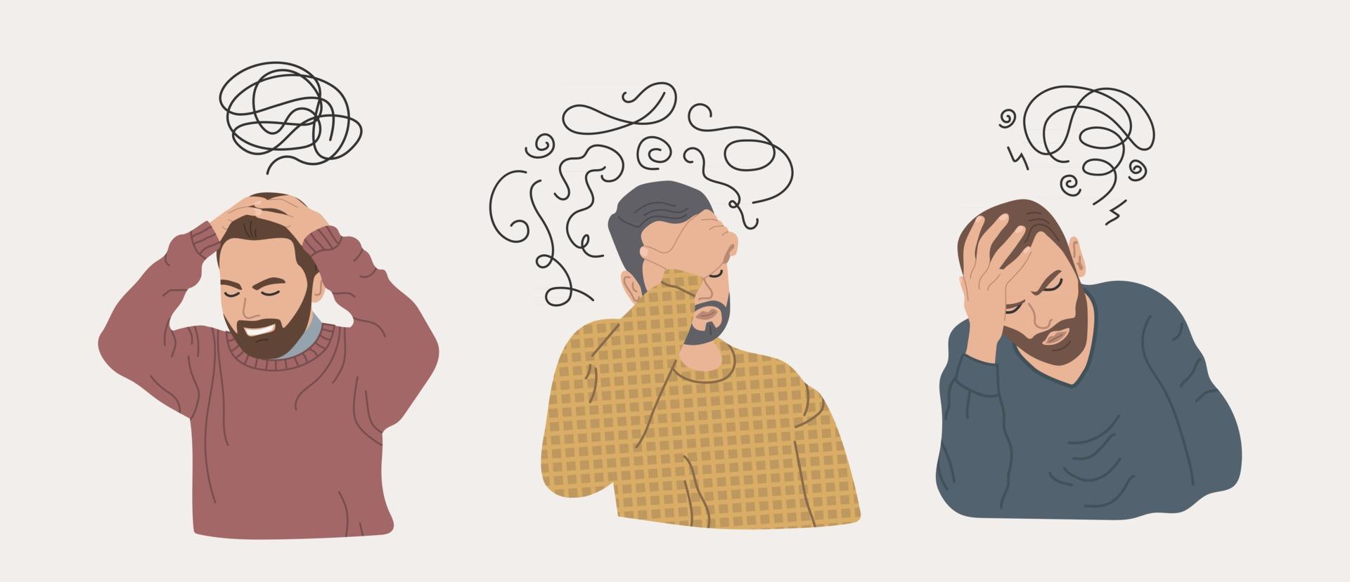 hombres con estrés y depresión personas frustradas enfermedad mental  2424265 Vector en Vecteezy