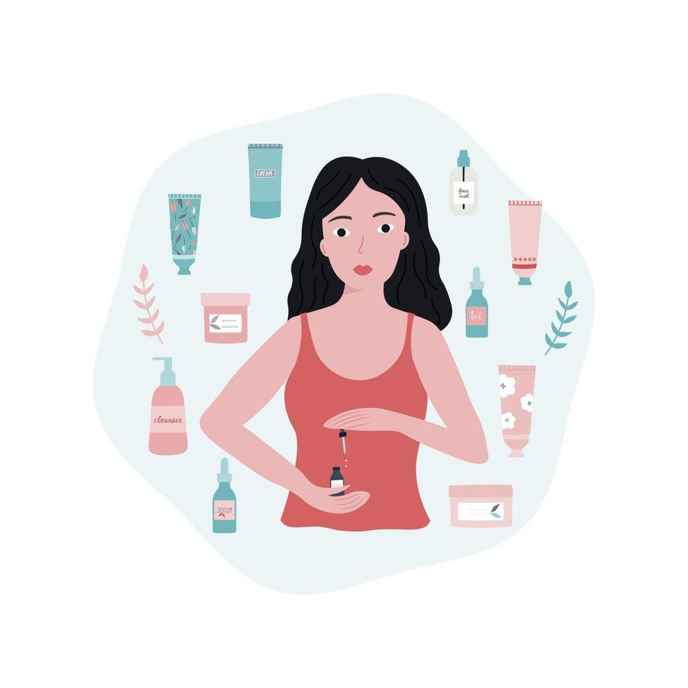 Young Woman Doing her Skincare Routine Flat Illustration vector