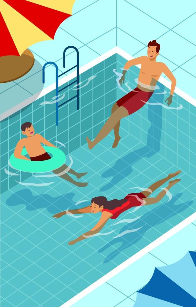 Happy Family Swim during Summer vector