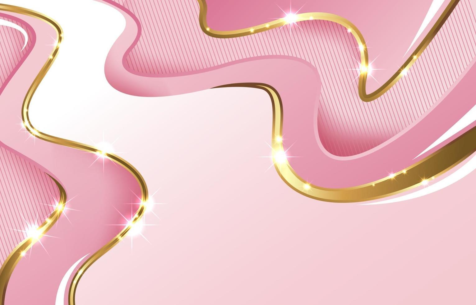 Abstract Pink Gold Wave Background vector