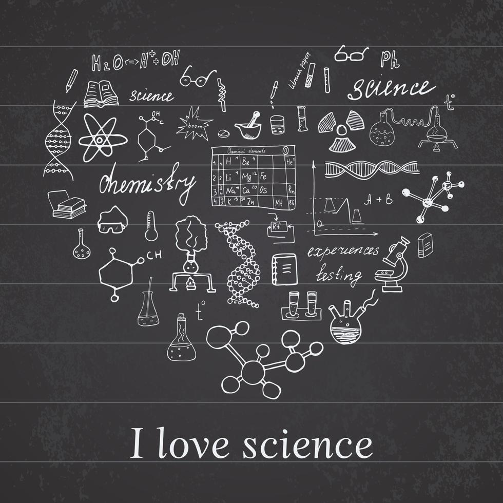 Chemistry and science elements doodles icons set Hand drawn sketch with microscope formulas experiments equipment analysis tools vector illustration on chalkboard background