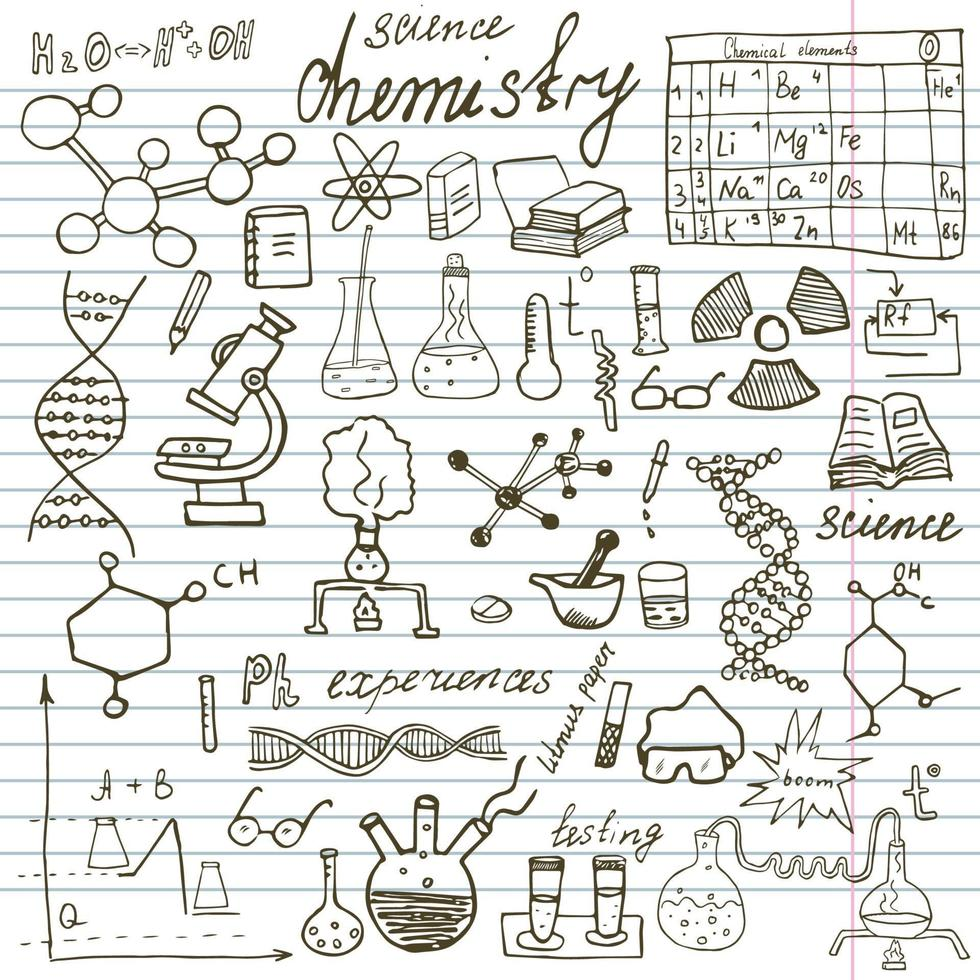 Chemistry and science elements doodles icons set Hand drawn sketch with microscope formulas experiments equipment analysis tools vector illustrationon paper notebook background