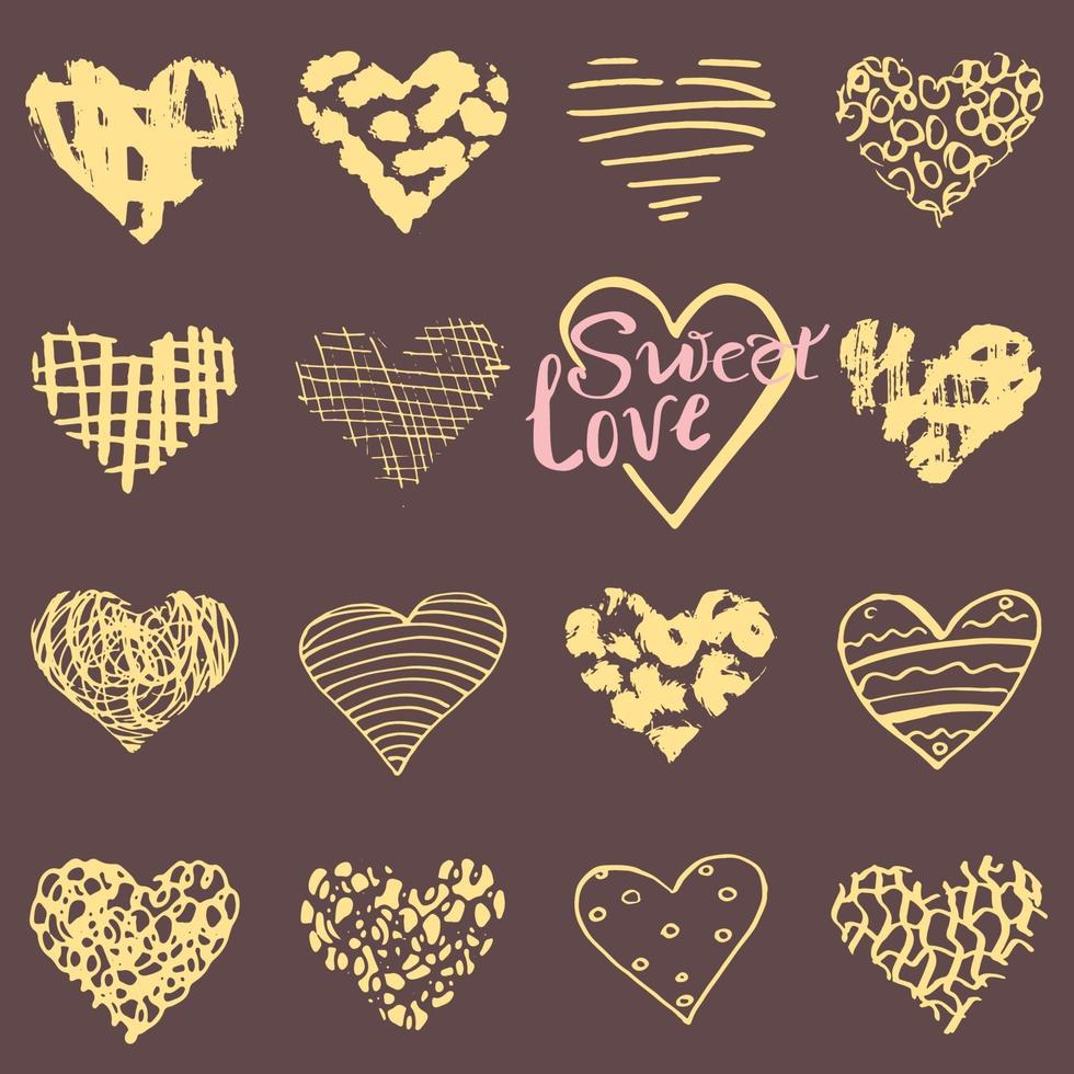 Hand drawn hearts symbols and lettering for Valentines day Sketched doodle elements for wedding invitations scrapbook cards posters gift wraps vector