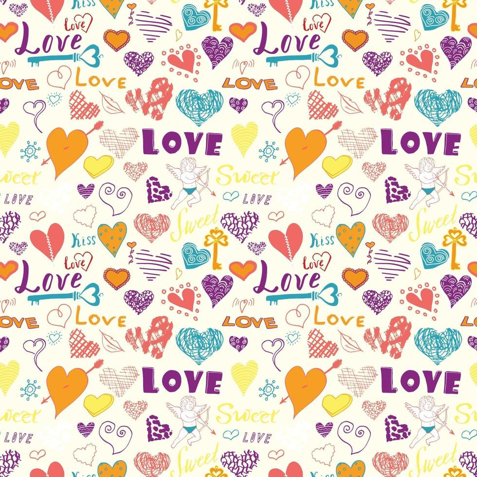 Valentines day hand drawn elements seamless pattern Sketched doodle elements hearts symbols and lettering for wedding invitations scrapbook cards posters gift wraps vector