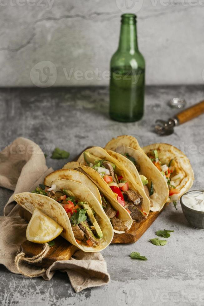 Creative composition of tasty food photo