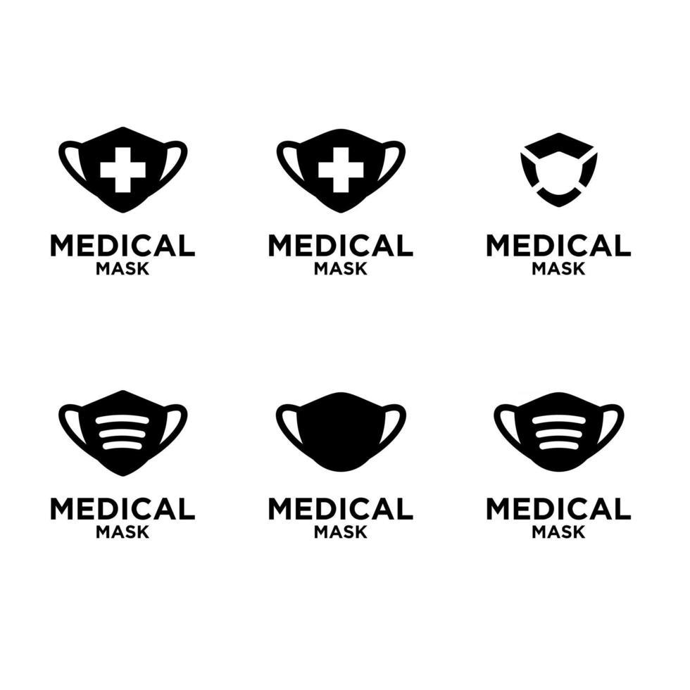 set collection Medical Mask Icon Vector Logo Template Illustration Design