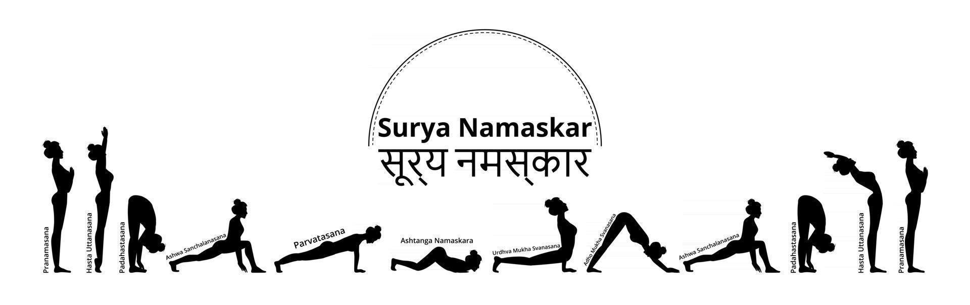 Silhouette fit women practicing yoga sun salutation complex long ...