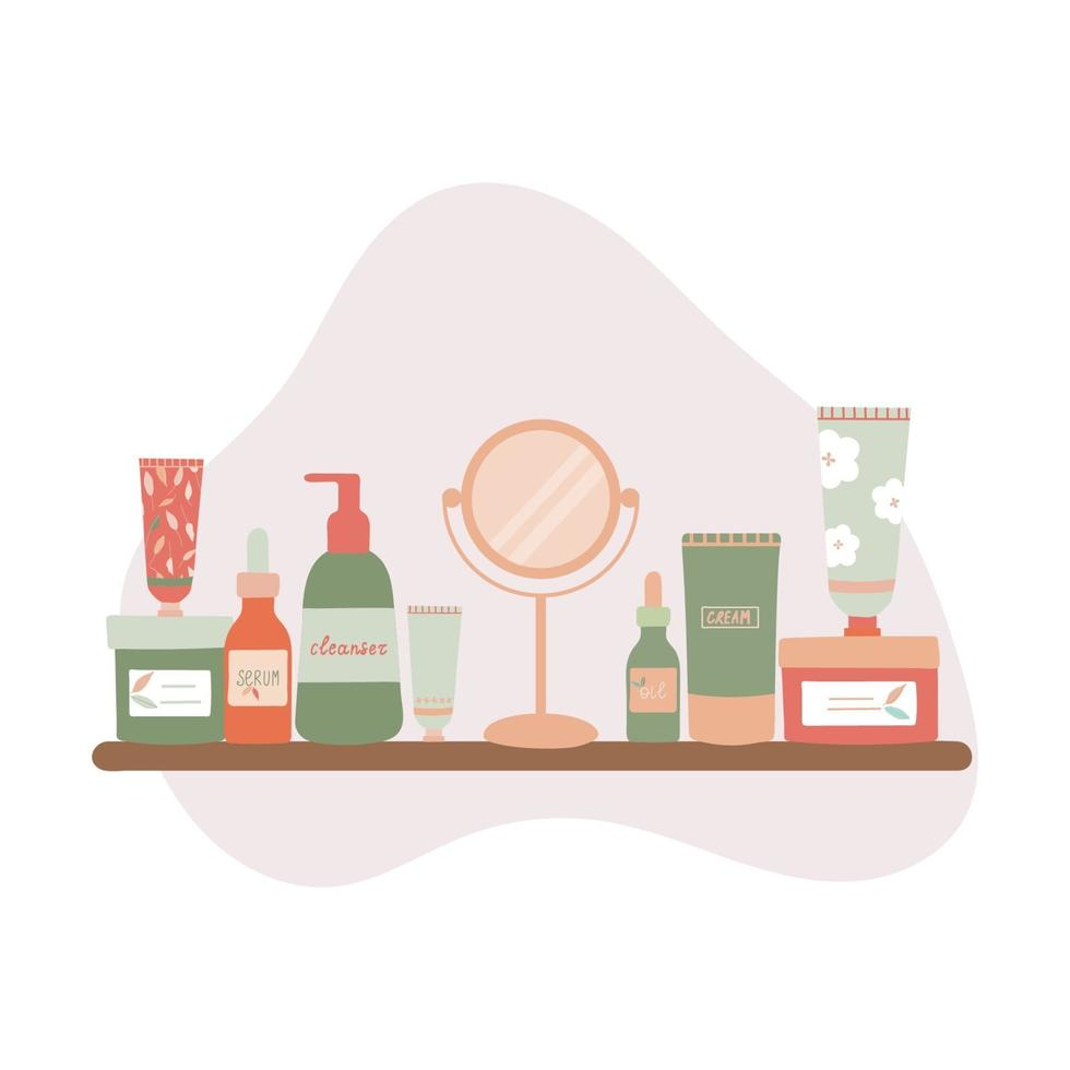 Organic Skincare Products on a Bathroom Shelf Flat Illustration vector
