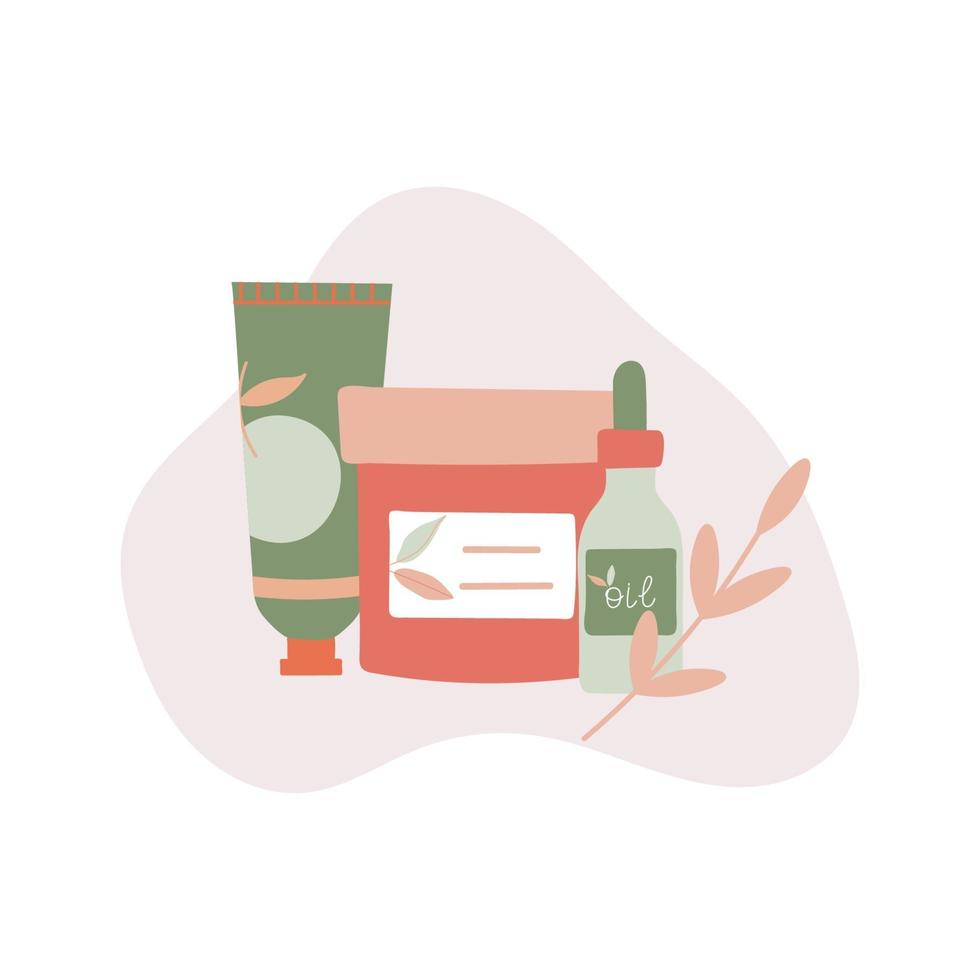 Organic Skincare Products with Leaf Flat Illustration vector