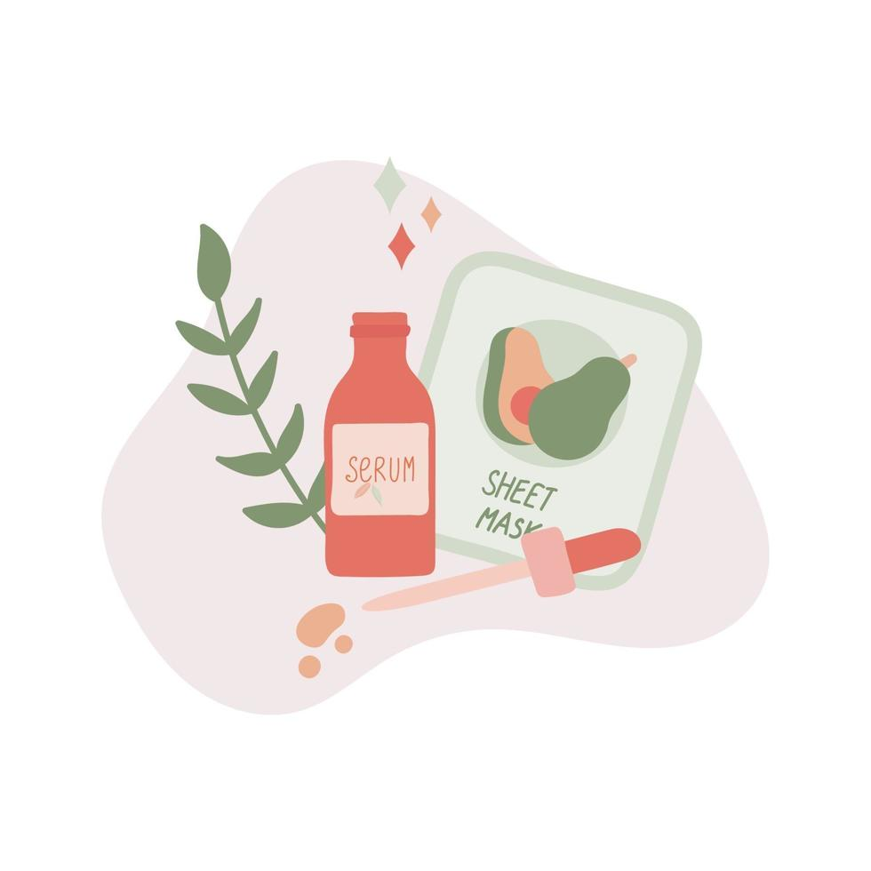 Organic Skincare Products and Leaf Flat Vector Illustration