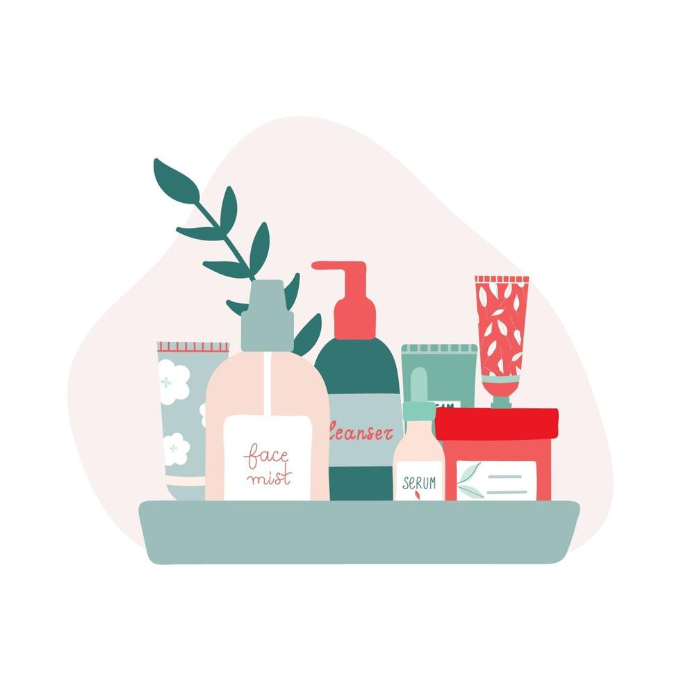 Organic Skincare Products on a Tray Flat Illustration vector