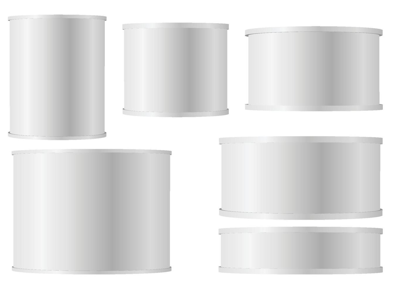 Set of white tins can with plastic cap for baby powder milk instant coffee cereal etc vector