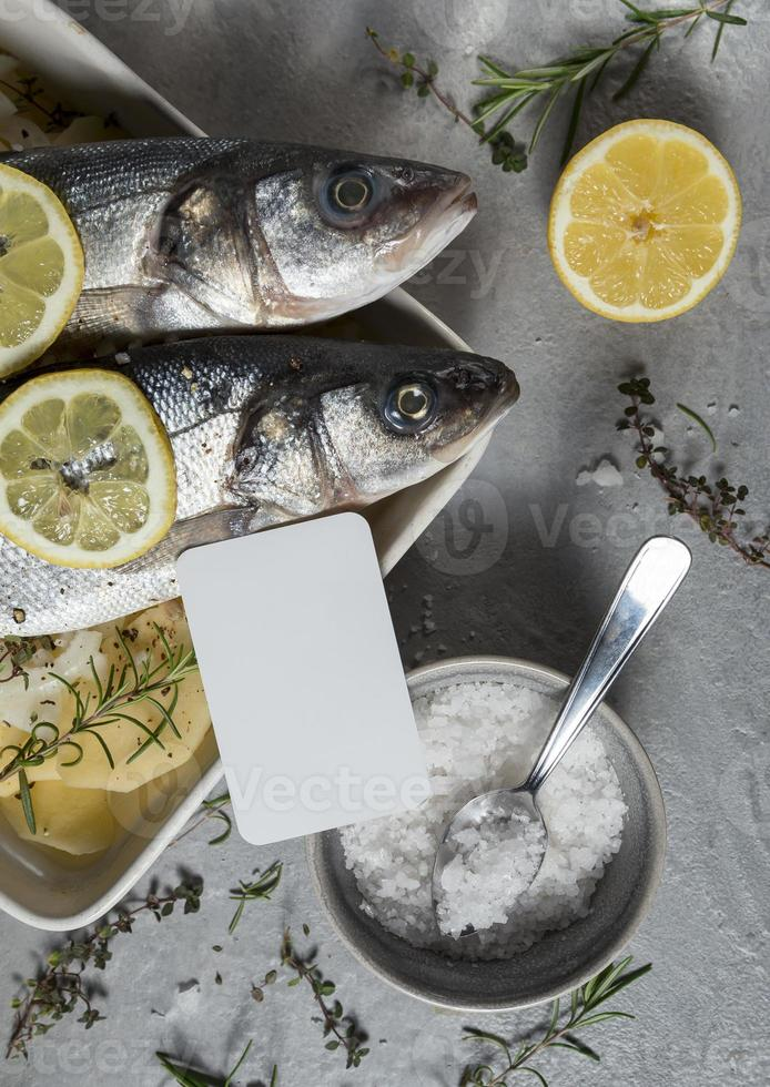 Raw fish composition for cooking photo