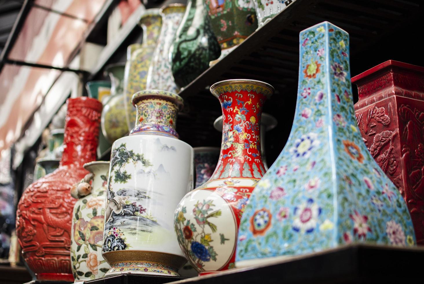 Arrangement of antiques market objects photo