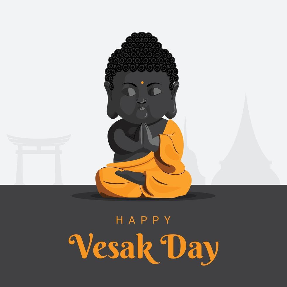 Happy vesak day meditation baby monk vector