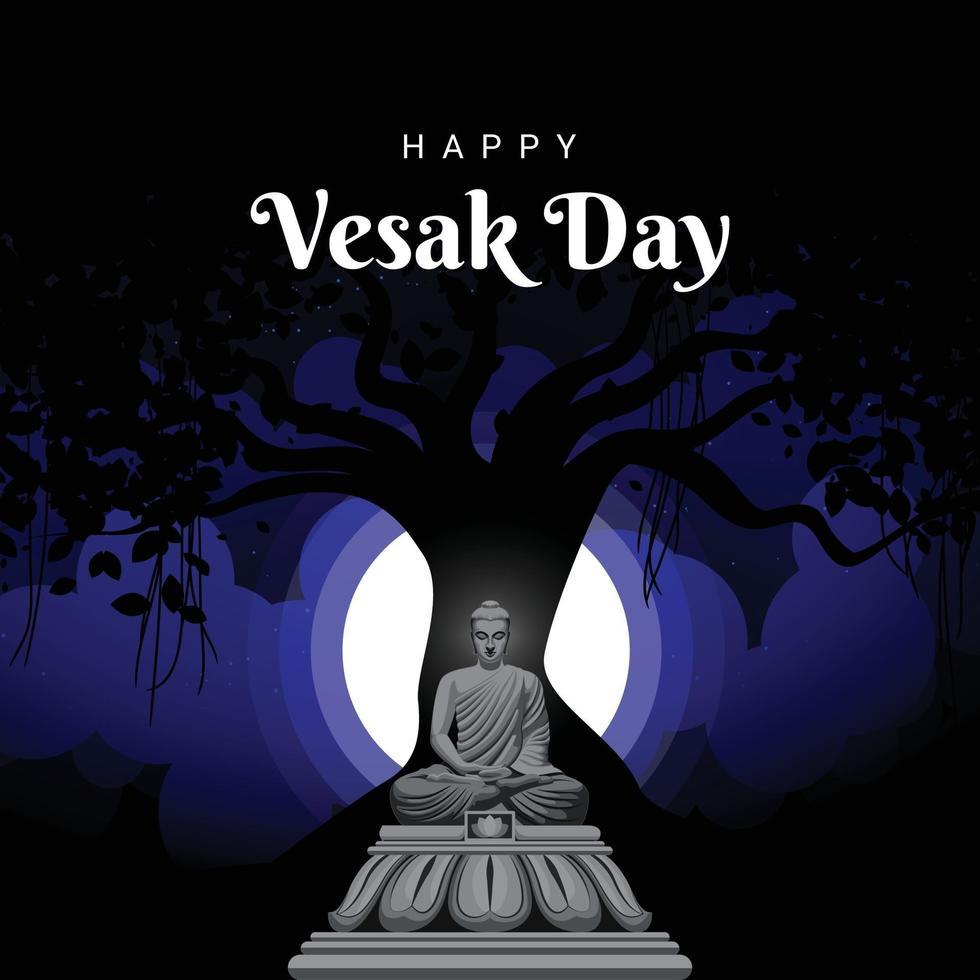 Happy vesak day meditating buddha vector