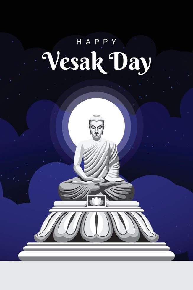 Vesak Day Illustration meditating Gautam buddha vector
