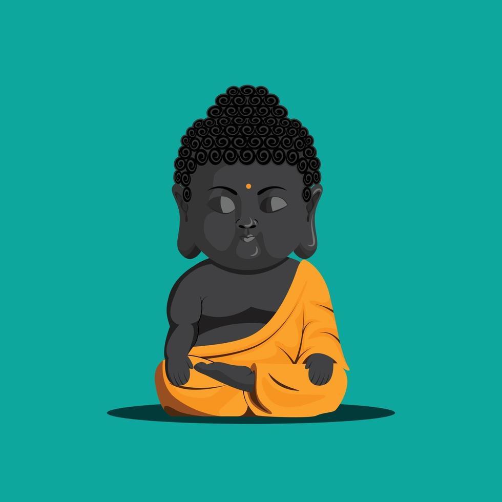 Meditating baby monk happy vesak day vector